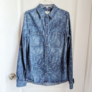 AG Adriano Goldschmied Chambray Feather Shirt XS